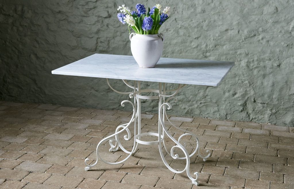 Reclaimed Marble Top Table