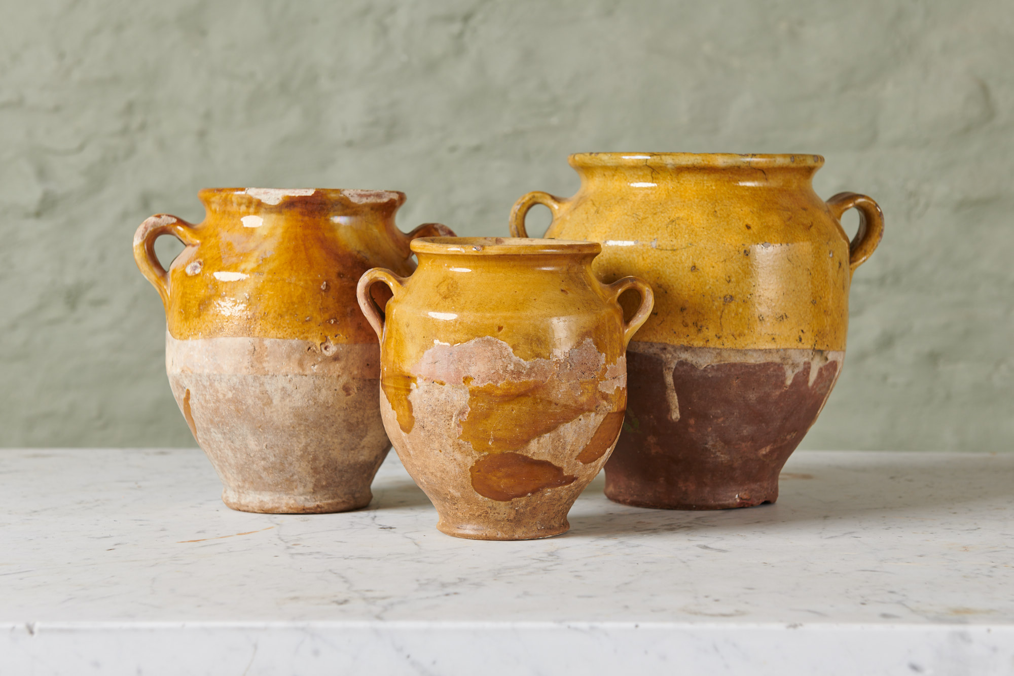 Trio of 18th Century Confit Pots