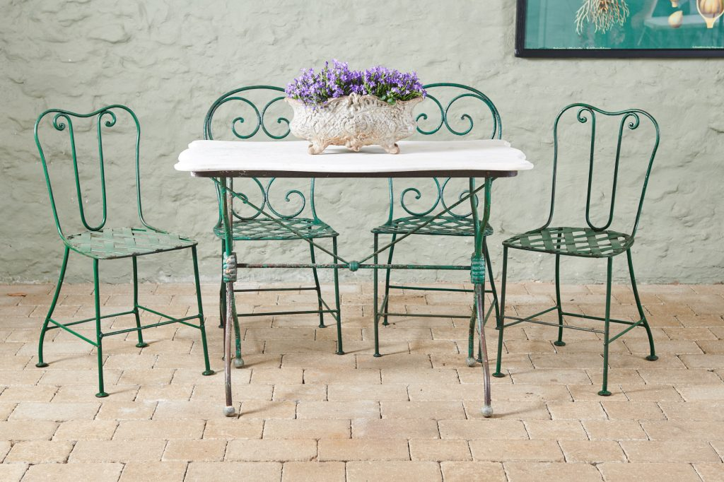Marble Top Bistro Table and Chairs