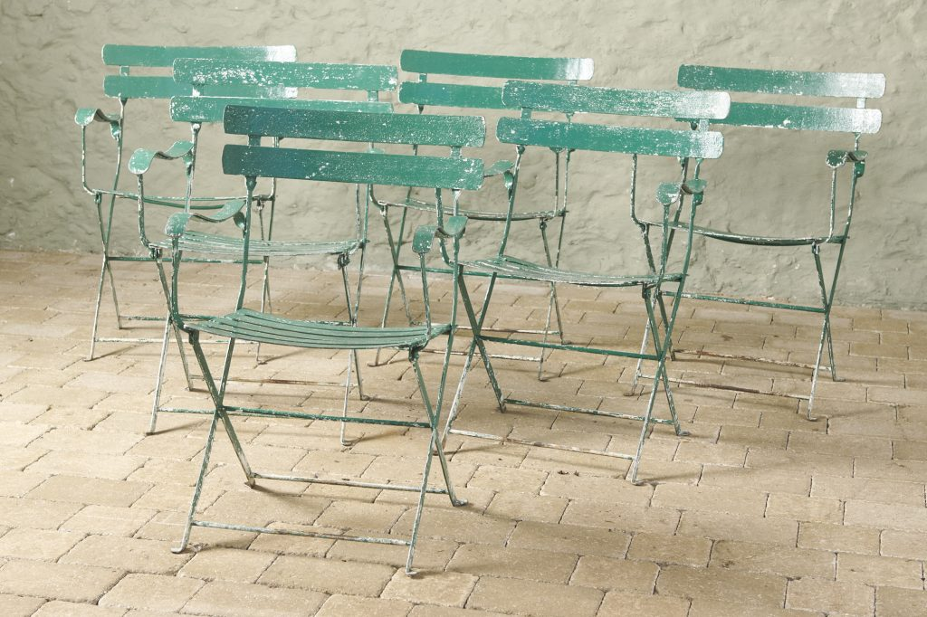Set of 6 Green Garden Chairs