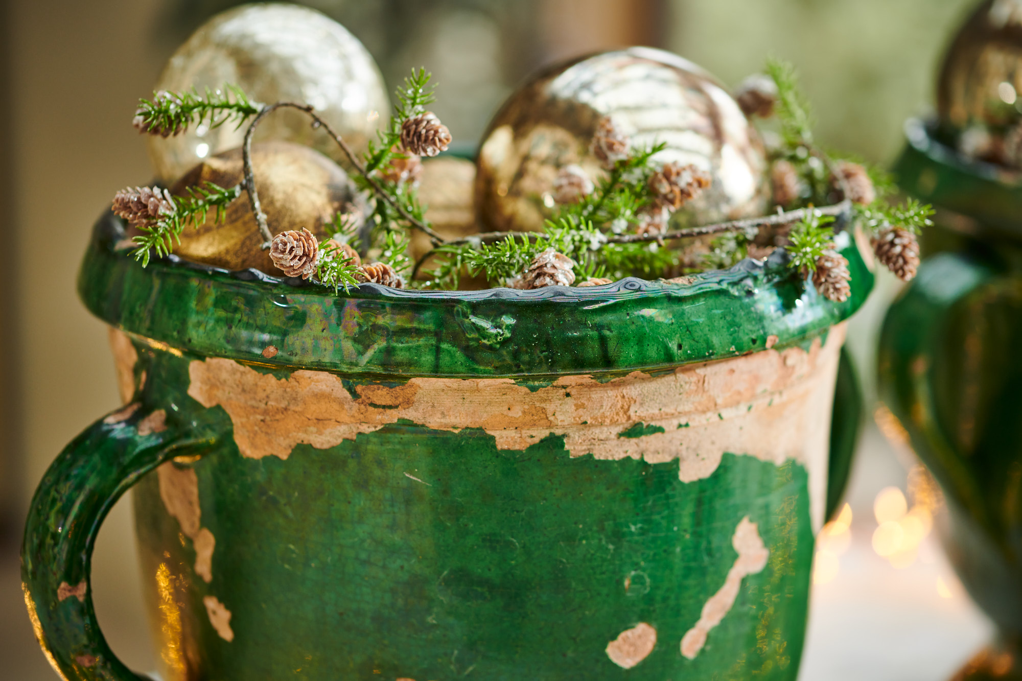 green antique urn