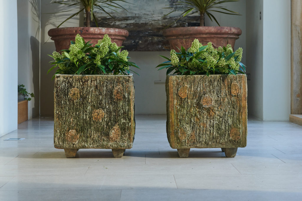 Pair of Faux Bois Planters