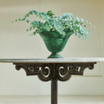 Round Cast Iron Table with Stone Top