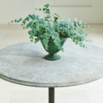 Round Cast Iron Table with Stone Top-1